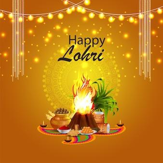 Folheto de celebração da lohri com ilustração criativa