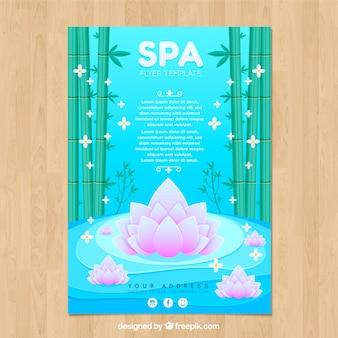 Folheto de centro de spa com bambu e flores em estilo simples