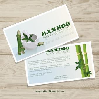 Folheto de centro de spa com bambu em estilo simples