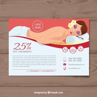 Folheto de centro de spa com desconto em estilo simples
