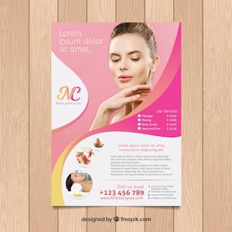Folheto de centro de spa com diferentes tratamentos para relaxar