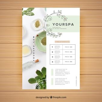Folheto de centro de spa com informações de tratamentos em estilo simples