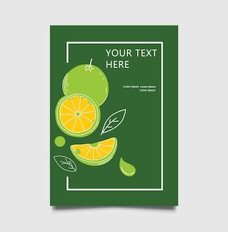 Folheto de citrinos verdes de menu de restaurante, modelos de design de folheto
