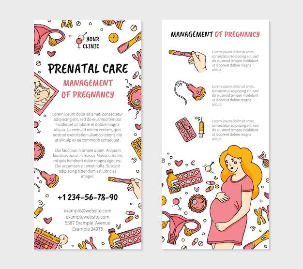 Folheto de clínica de gravidez e pré-natal em estilo doodle