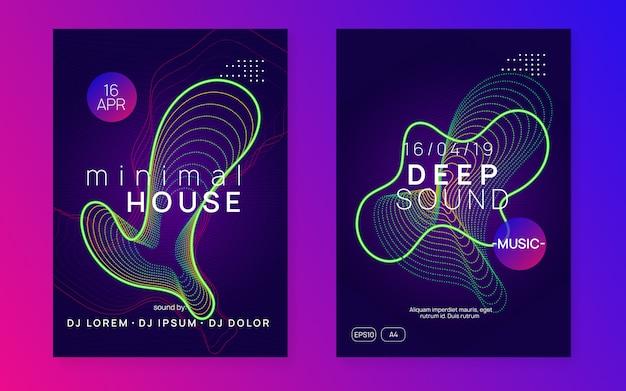 Folheto de clube de néon. electro dance music. trance party dj. festival de som eletrônico. cartaz de evento techno.