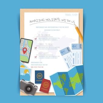 Folheto de coisas de viagem