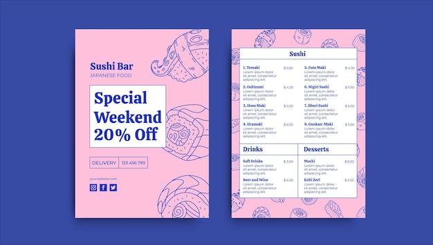 Folheto de comida de sushi duotônico desenhado à mão