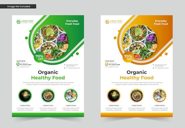Folheto de comida orgânica saudável ou design de modelo de folheto de restaurante