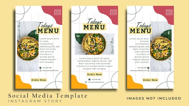 Folheto de comida vegana minimalista ou história de mídia social premium vector