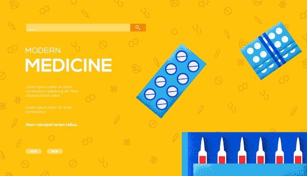 Folheto de conceito de ampolas e comprimidos médicos, banner da web, cabeçalho da interface do usuário, insira o site.