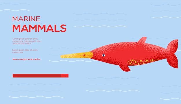 Folheto de conceito de baleia beaket gray, banner da web, cabeçalho da interface do usuário, inserir site.