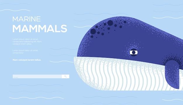 Folheto de conceito de baleia-bowhead, banner da web, cabeçalho da interface do usuário, insira o site. .