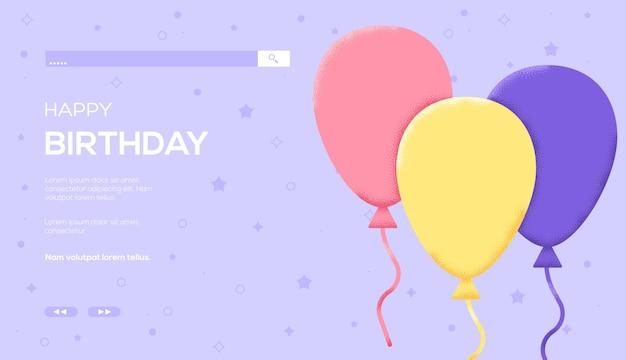 Folheto de conceito de balões de hélio, banner da web, cabeçalho da interface do usuário, insira o site. textura do grão e efeito de ruído.