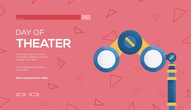 Folheto de conceito de binóculos, banner da web, cabeçalho da interface do usuário, insira o site.