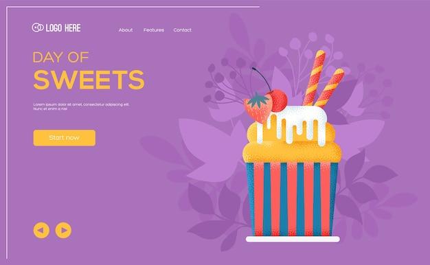 Folheto de conceito de bolo de frutas, banner da web, cabeçalho da interface do usuário, insira o site. textura do grão e efeito de ruído.