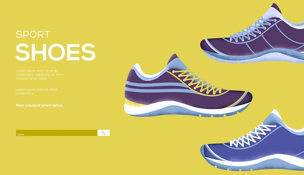 Folheto de conceito de calçados esportivos, banner da web, cabeçalho da interface do usuário, insira o site. .