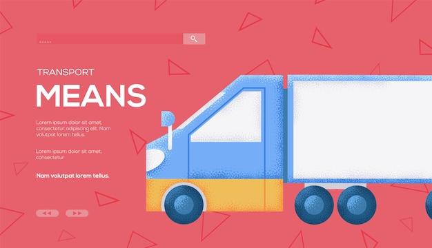 Folheto de conceito de caminhão caminhão, banner da web, cabeçalho da interface do usuário, insira o site. .