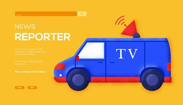 Folheto de conceito de carro de tv, banner da web, cabeçalho da interface do usuário, insira o site. textura do grão e efeito de ruído.
