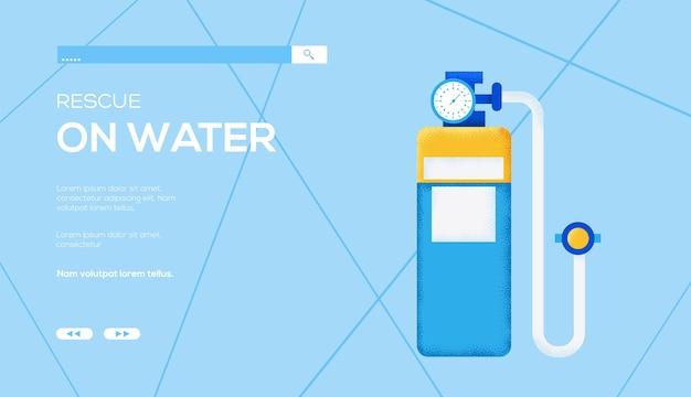 Folheto de conceito de cilindro de oxigênio, banner da web, cabeçalho da interface do usuário, insira o site. .