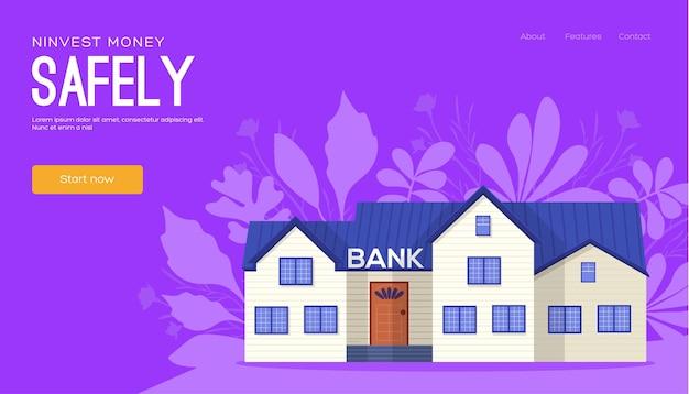 Folheto de conceito de construção de banco, banner da web, cabeçalho da interface do usuário, insira o site. página do site do controle deslizante de ilustração moderna.