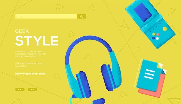 Folheto de conceito de estilo geek, banner da web, cabeçalho da interface do usuário, insira o site. textura do grão e efeito de ruído.