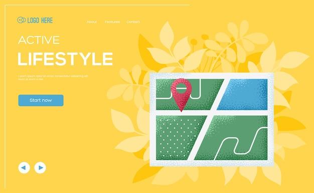 Folheto de conceito de mapa, banner da web, cabeçalho da interface do usuário, insira o site.