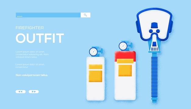 Folheto de conceito de máscara de gás, banner da web, cabeçalho da interface do usuário, insira o site. textura do grão e efeito de ruído.