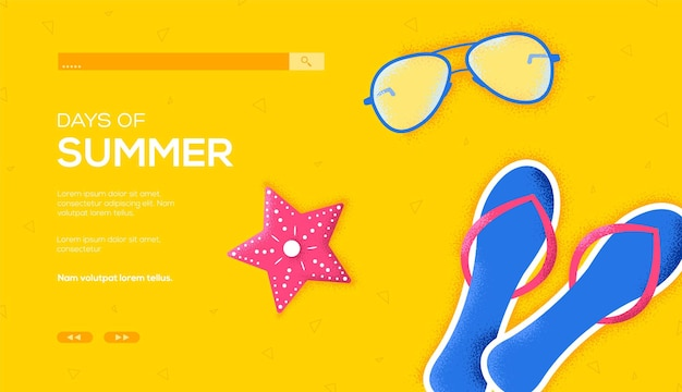 Folheto de conceito de nadadeira de praia e óculos de sol