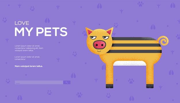 Folheto de conceito de porco, banner da web, cabeçalho da interface do usuário, insira o site. .