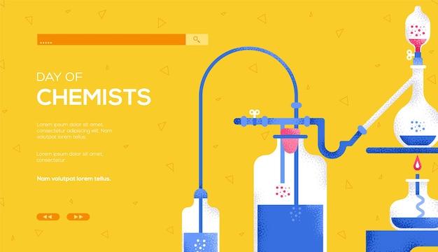 Folheto de conceito de processo químico, banner da web, cabeçalho da interface do usuário, insira o site. textura do grão e efeito de ruído. lugar para texto, lugar para copiar. página do site do controle deslizante de ilustração moderna.