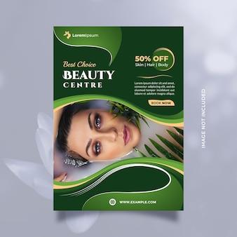 Folheto de conceito de serviço de centro de beleza e modelo de folheto com tamanho a4 e tema verde natural