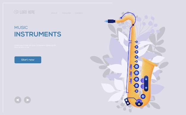 Folheto de conceito saxofon, banner da web, cabeçalho da interface do usuário, insira o site. .