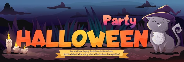 Folheto de convite de modelo de festa de fantasia de gato fofo halloween com texto ilustração de desenho vetorial
