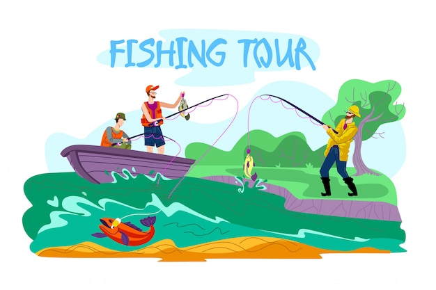 Folheto de convite é escrito tour de turismo de pesca