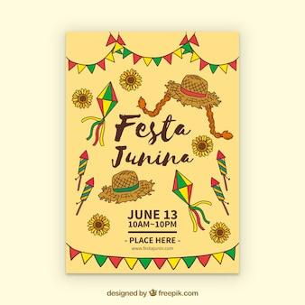 Folheto de convite festa junina com elementos de festa