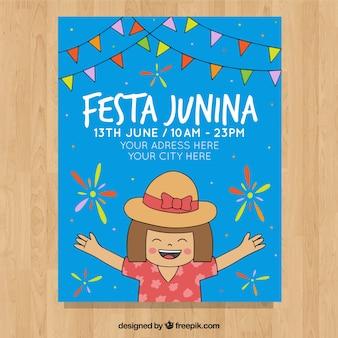 Folheto de convite festa junina com garota feliz