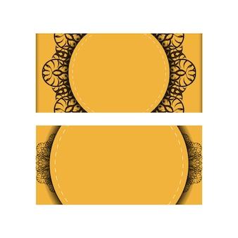Folheto de cor amarela com padrão de mandala marrom para sua marca.