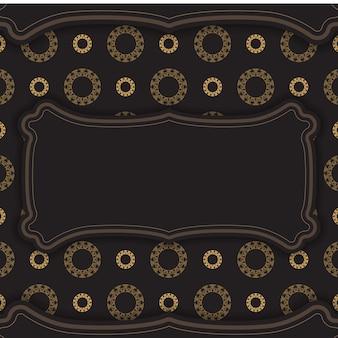 Folheto de cor preta com ornamento abstrato marrom