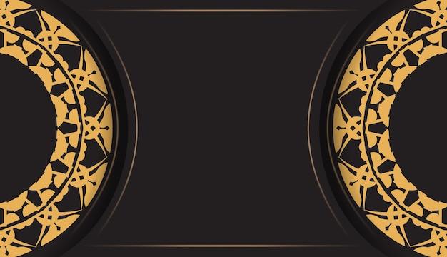 Folheto de cor preta com ornamento mandala marrom