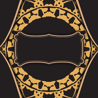 Folheto de cor preta com padrão abstrato marrom