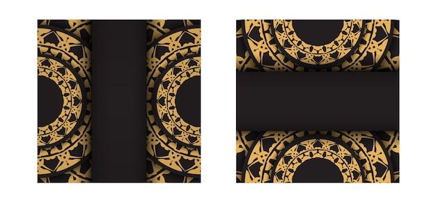 Folheto de cor preta com padrão de mandala marrom