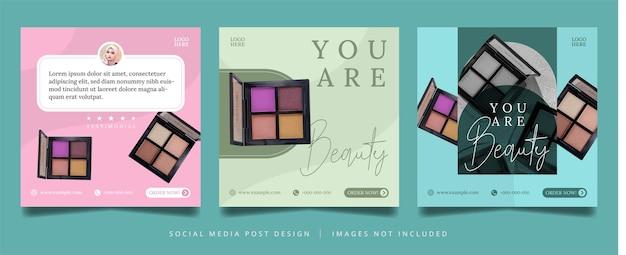 Folheto de cosmética minimalista ou banner de mídia social