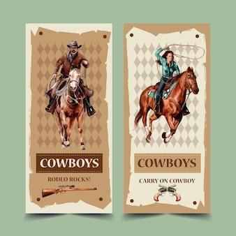 Folheto de cowboy com cavalo, arma