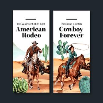 Folheto de cowboy com cavalo, cacto, deserto