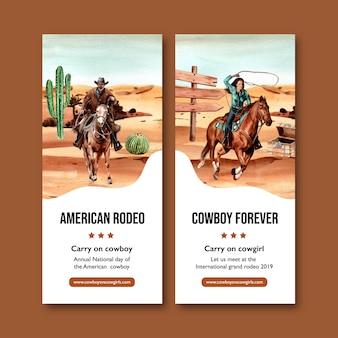 Folheto de cowboy com cavalo, pessoa, cacto, peito