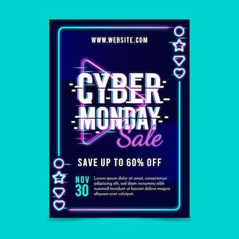 Folheto de cyber segunda-feira com glitch