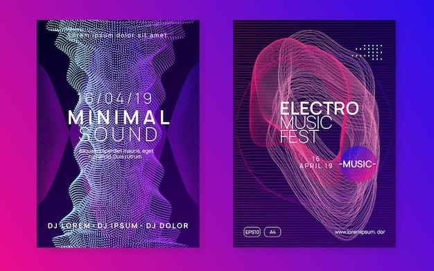 Folheto de dança de néon. música electro trance. techno dj party. electro