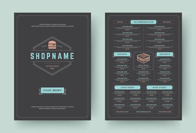 Folheto de design de layout de menu de restaurante hambúrguer ou ilustração em vetor modelo panfleto de comida