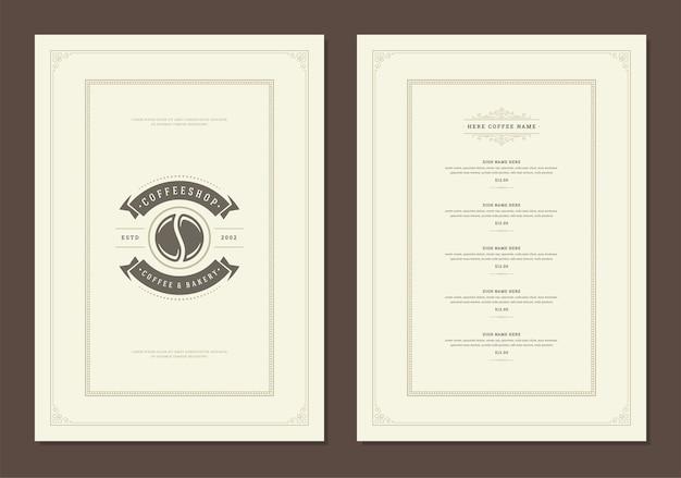 Folheto de design de modelo de menu de café para bar ou café