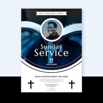 Folheto de design plano da igreja pronto para imprimir